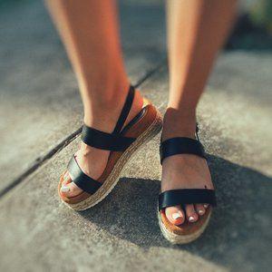 Black Strapped Platform Sandals